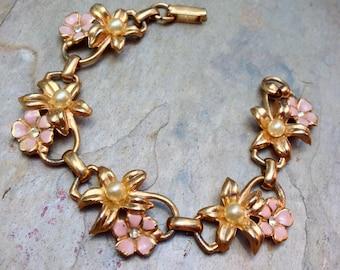 Pink Enamel Bracelet, 1950 1960's Vintage Flower Pearl Romantic Bridal
