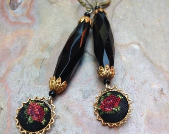 Black Rose Earrings Bohemian Czech Red Petipoint Art Nouveau