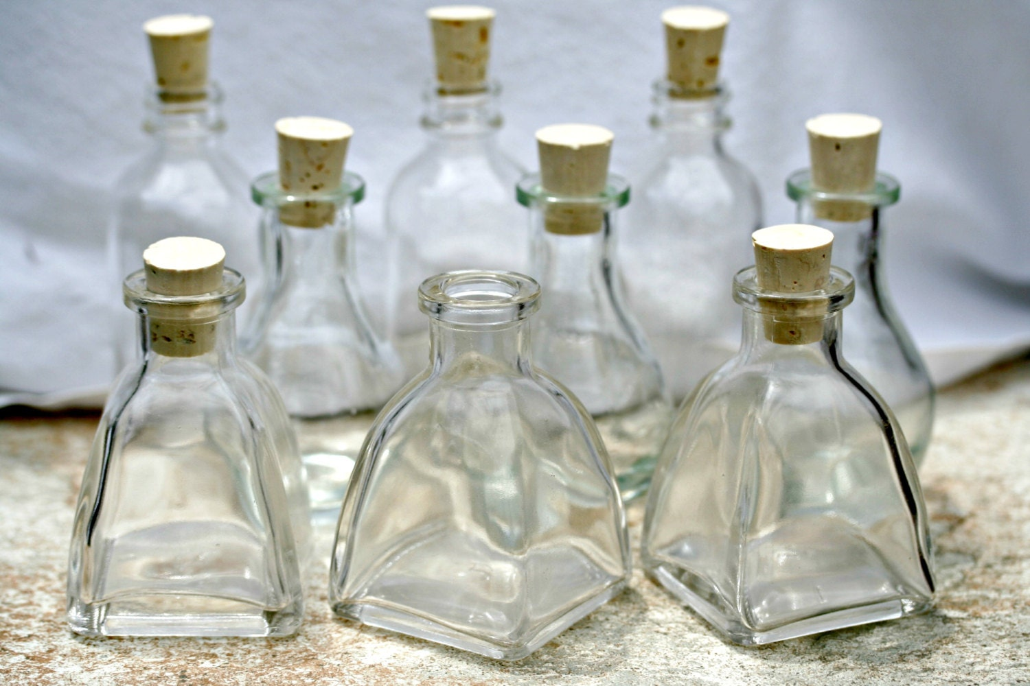 20 Mixed Bottles 2 Oz Clear Glass Bottles Empty By