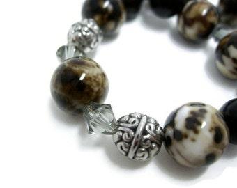 Brown Agate beaded bracelet handmade bracelet womens jewelry unique bracelet with Swarovski smoke crystals gift for her Birthday