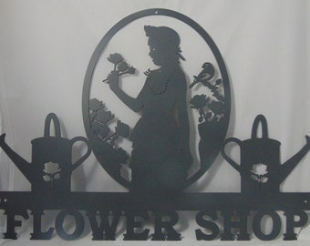 Flower Shop Metal Wall Sign - Made To Order!  Choose your color! Add a Name?