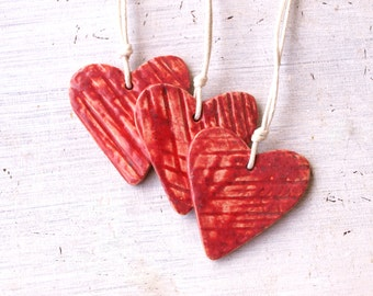 Red Ceramic Heart, Set of 3, Pottery Ornament, Weding Favor, Weding heart decoration