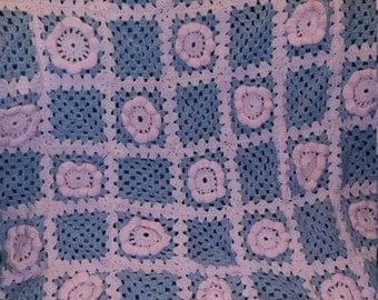 Pink and purple small  flower afghan
