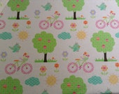 Happi Appletrees and Bicycles, cotton quilting fabric, 1 yard
