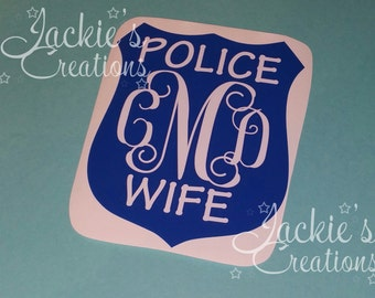 Police Wife Monogram Decal/Thin Blue Line Decal