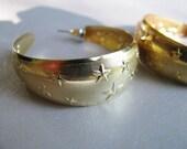 Large Gold Plated Hoop Stud Earrings - Vintage Star Post Earrings - Hoop Stud Earrings