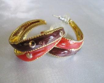 Burnt Orange Earrings - Brown and Burnt Orange Hoop Earrings