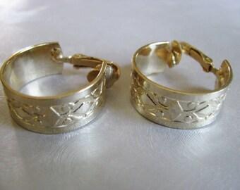 Vintage Clipon Earrings - Diamond Etched Hoop Earrings - Goldtone Hoops - Unique Hoop Earrings