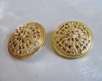 Vintage Monet Gold Earrings - Vintage Round Clipons - Vintage Goldtone Earrings