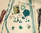 Teal-ish Crazy Quilt (CQ) Embellishment Kit