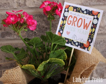Printable Teacher Appreciation Gift - Thanks for helping us grow - tag - PDF - floral - Instant Download