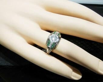 Ladies, Antique, Diamond, Emerald, White, Gold, Ring