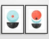 Geometric Wall Art Set, Abstract Watercolor Art, Scandinavian Prints, Mid Century Modern Art, Minimalist Posters
