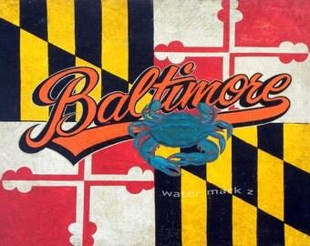 Baltimore Maryland Flag & Chesapeake Bay Blue Crab   print vintage decor art
