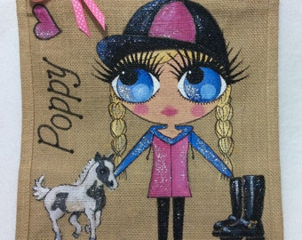 Handpainted Personalised Girl with Pony Horse Jute Ballet Bridesmaid Handbag Gift Party Bag Celebrity Style