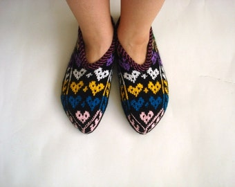 womens slippers, ethnic knit slippers, authentic gifts, MultiColor Turkish Slippers Valentines gifts for women, love heart for her woman