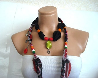 Wooden Beaded black and red Cotton Scarf, Cotton Necklace, cowl, beaded Belt, Headband, Neck wrap Gift for woman, Turkish Scarf Yemeni