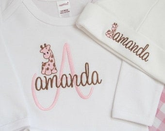 COMING HOME GOWN and Hat Personalized Girl Layette Giraffe Outfit Newborn Baby Monogram Name Leaving Hospital Long Sleeve