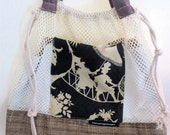 Linen and Fisherman's Net Market Bag Drawstring Tote Black and Beige and Taupe