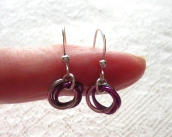 Purple and Silver Chainmail Earrings, Chainmaille Jewelry, Mobius Roses, Lead and Nickel Free, Simple, Minimalist, Gift Under 50