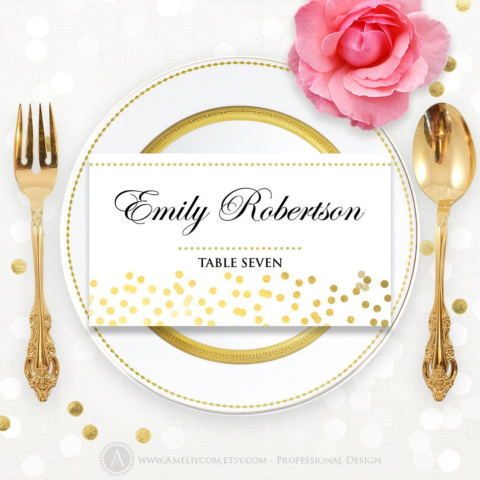 printable place card template folded tent cards glam gold