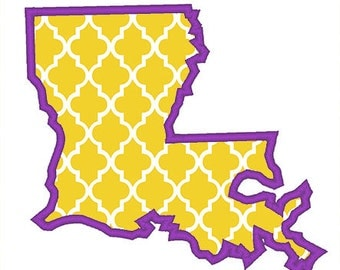 Louisiana Outline Applique Embroidery Design - Instant Download
