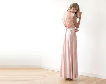 Backless maxi pink gown, Maxi short sleeves pink gown