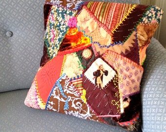 Crazy Quilted Pillow Boho Gypsy Fun