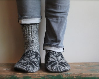 Men's Felted Wool Slippers/Cottage Socks with Leather Sole, Fair Isle Slipper Sock