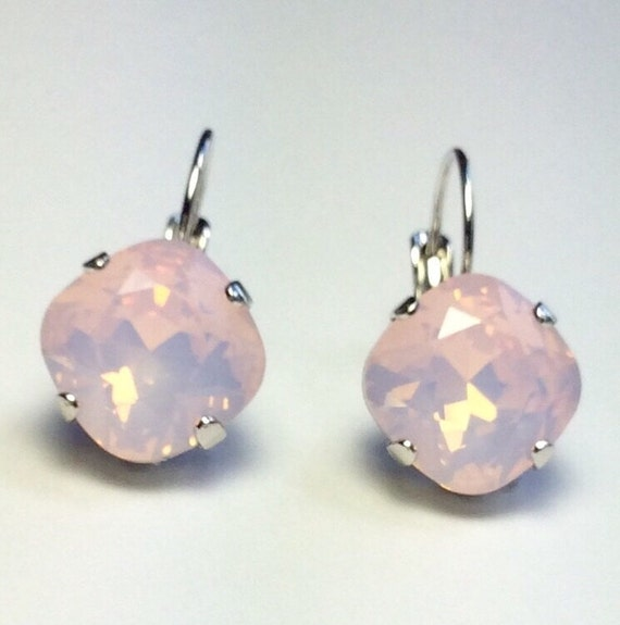 Swarovski Crystal 12MM Cushion Cut, Lever- Back Drop Earrings - Designer Inspired -Rosewater Opal - On SALE - FREE SHIPPING