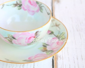 Antique, Hand Painted Thomas Bavaria, Porcelain Tea Cup and Saucer, Tea Party, Replacement China - c. Early 1900's
