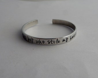 So there's this boy who stole my heart, he calls me mom / Hand Stamped Mother Son Bracelet / Mother's Day Gift / mom / mommy / mama / momma