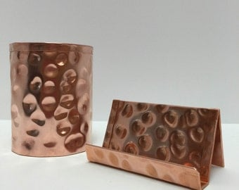 Raw Hammered Copper Pen Pencil Holder With Business Card Combo