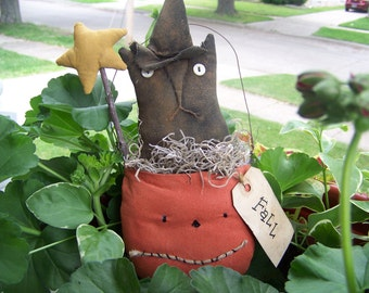 Primitive Fall Kitty Witch Pumpkin Cupboard Doll/Hanger
