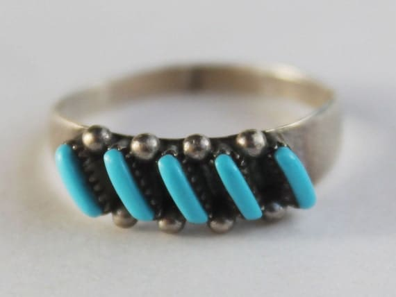 Zuni Needlepoint Turquoise Ring Sterling Silver Old Pawn