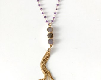 Long Druzy Tassel Necklace with Amethyst Rosary Beads