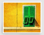 Siesta - Italy illustration Art Print Poster Home decor Wall art Modern Art Gift idea Architecture Yellow Orange Italian facade Green window