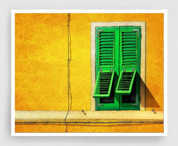 Siesta - Italy illustration Art Print Poster Home decor Wall art Modern Art Gift idea Architecture Yellow Orange Italian facade Green window