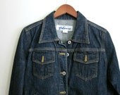 Women's Denim Jacket Dark Blue Jean Jacket Vintage 90s Express Blues SZ Women's Large