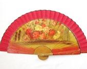 Vintage, antique wooden fan Vintage Spanish hand fan Hand painted fan Signed by artist