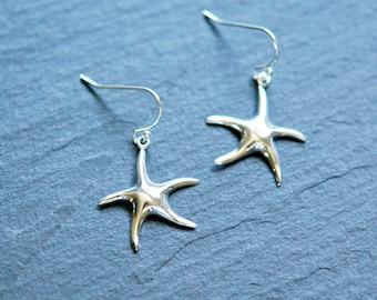 Sterling silver star earrings - large starfish earrings - nautical falling star - lucky star - wedding bridesmaid modern jewelry - nightfall
