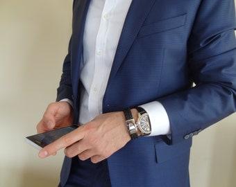 Men's Black Braided Leather Bracelet, Chrome Clasp Bracelet, Men's Jewelry,  Groom Bracelets , Groom Gift, Wedding Gifts