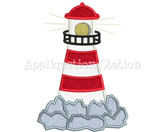 Lighthouse on Rocks Applique Machine Embroidery Design Pattern nautical ocean beach INSTANT DOWNLOAD