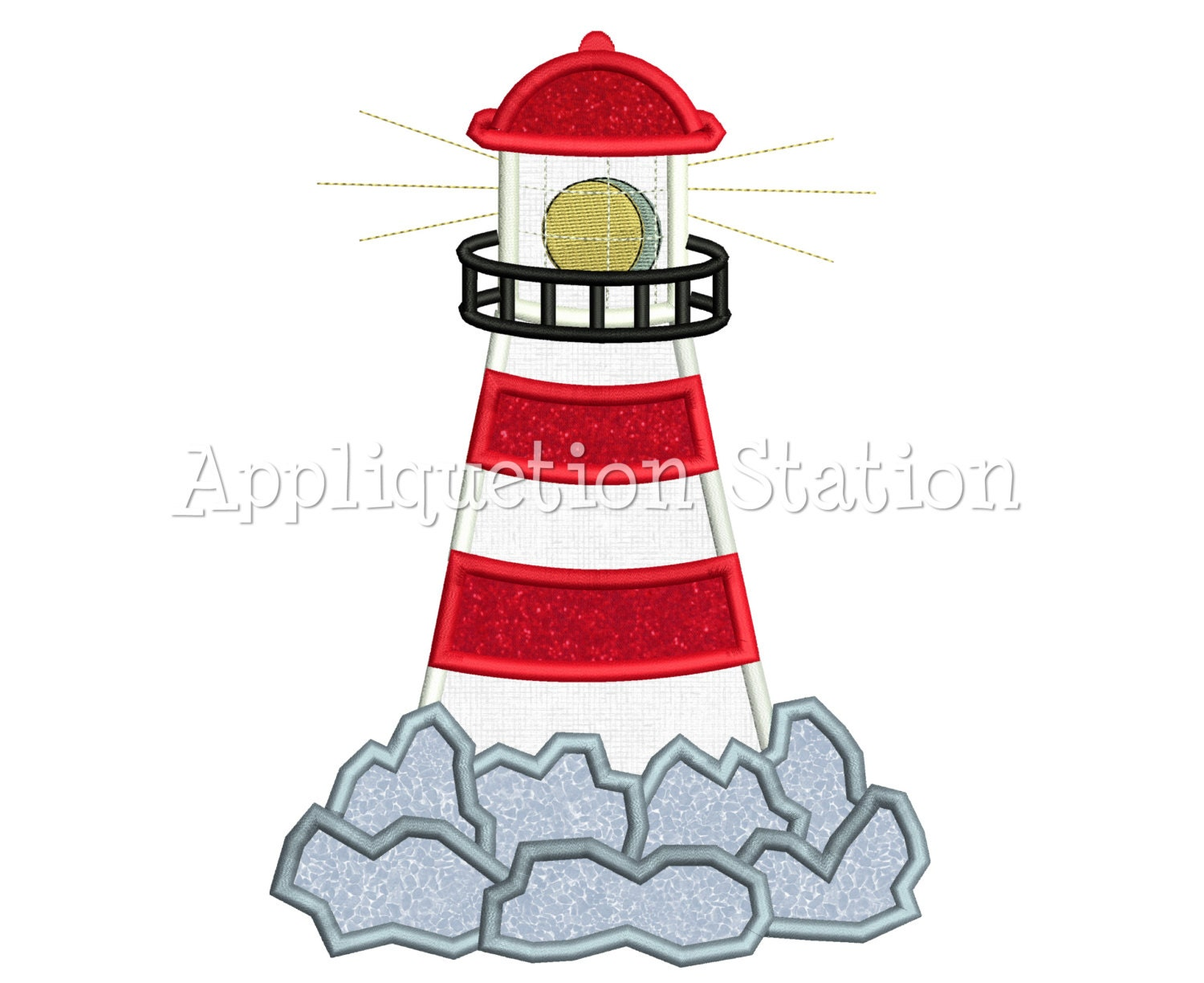 Lighthouse On Rocks Applique Machine Embroidery Design Pattern
