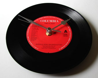 """The CLASH Vinyl Record CLOCK. """"Should I Stay or Should I Go"""" or """"Rock The Casbah"""" Recycled 7"""" record. Punk Rock clock red and black"""