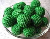 Kelly Green Crochet Beads, 6 Chunky Green Beads, Knit Beads, 21mm Chunky Beads, Bubblegum Bead, Gumball Bead