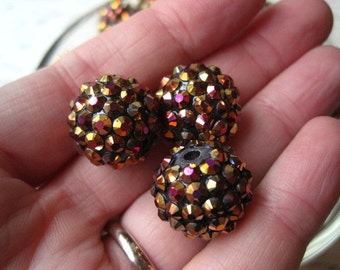 10 Disco Ball Beads, 16mm Rhinestone Bead, Dark Copper, AB Finish, Bumpy Necklace Bead, Gumball Beads, Bubblegum Bead
