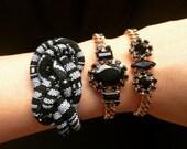 Arm candy set -  Black boho cord Knot Bracelet ans 2 chunky black stones gold plated bracelets