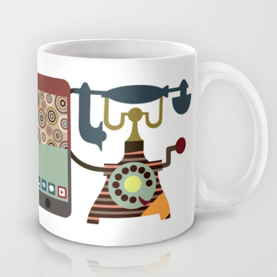 Unique Coffee Mug, Ceramic Mug, Cute Mugs, Tea Mug, Drinking Mug, Cool Coffee Mugs, Vintage Telephone Ceramic Mug
