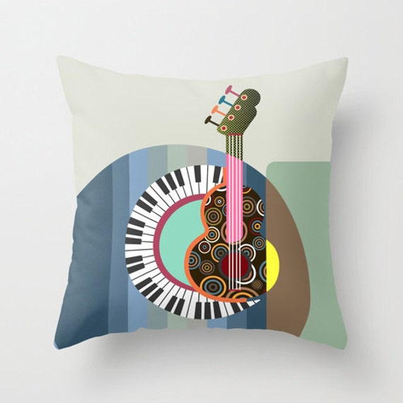 Music Pillow, Pop Art Pillow,  Pillow Cover for Music Lovers, Designer Pillow, Guitar Pillow, Music Decor, Music Gift